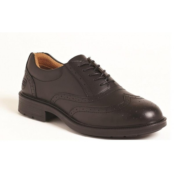 Black Leather Brogue Safety Shoes