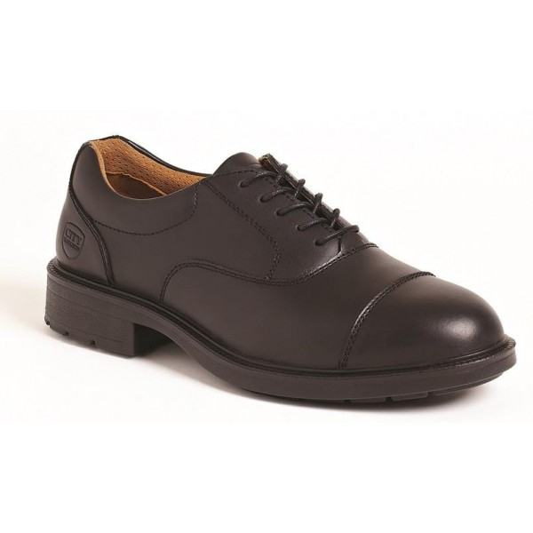 Black Leather Oxford Safety Shoe