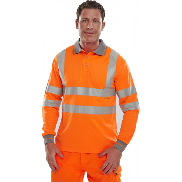 Hi Vis Long Sleeve Polo Shirt